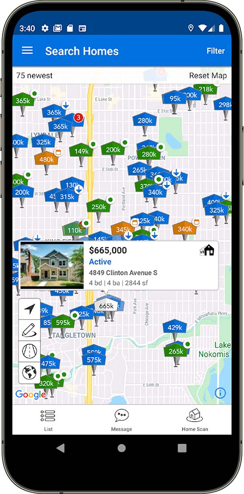 android real estate search app